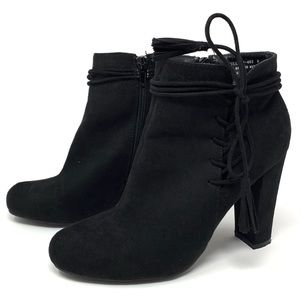 Bamboo Hilltop 46-S Black Cut Out Lace Booties